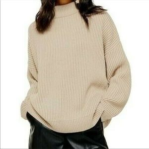 Topshop NWT beige thick ribbed sweater size medium